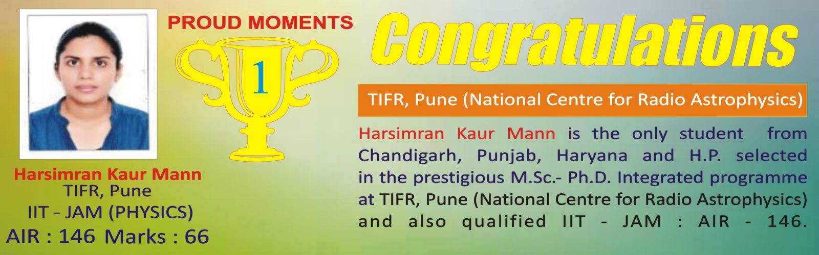 Excellent performance in TIFR and IIT JAM (PHYSICS)